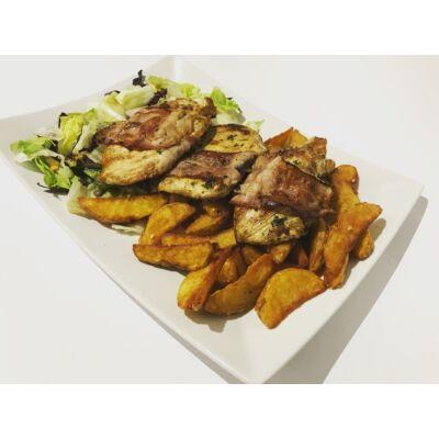 Baconbe göngyölt vasalt csirke