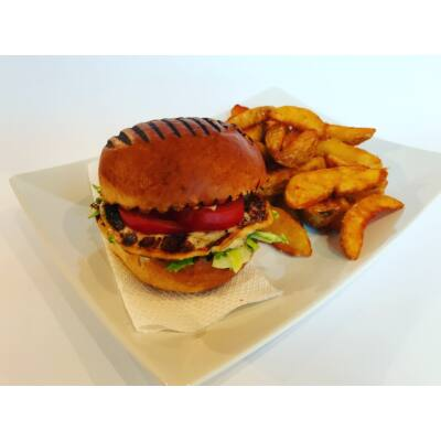 Vega burger menü grillezett sajttal