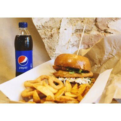 Csirkés burger menü- fűszeres héjas burgonyával, hagymakarikával és választott üdítővel