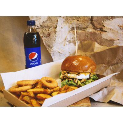 Vega burger menü - héjas burgonya, hagyma karika, választott üdítő