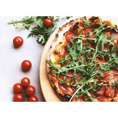 ITTALI 32 - olasz paradicsom alap, mozzarella, pikáns nápolyi szalámi, prosciutto sonka, koktél paradicsom rukkola