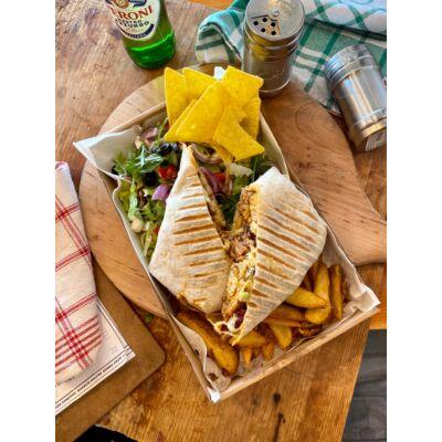 porky quesadilla tál:mekxikói rizs,sajt,avokádó krém,bbq malachús,tejföl,nachos